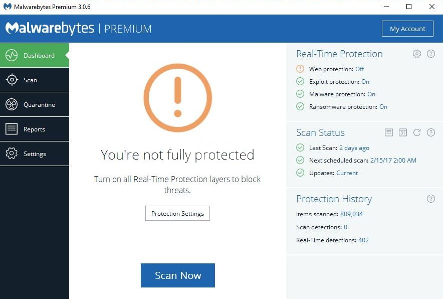 malwarebytes web protection won't turn on or won't start