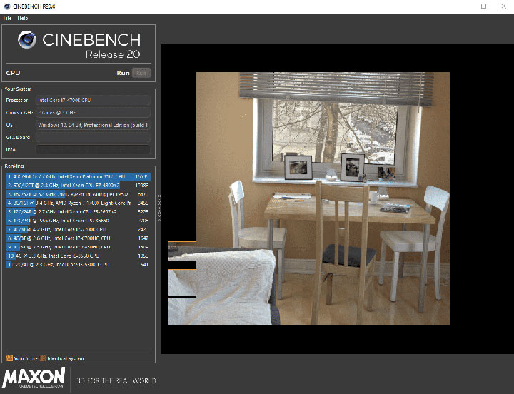 Cinebench Free CPU and GPU benchmark tool