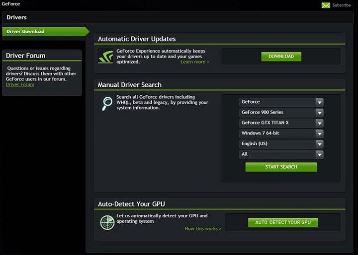 Nvidia GeForce Graphics Driver